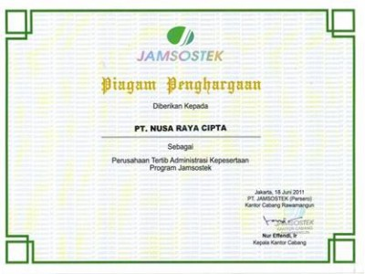 Award Charter of PT. Nusa Raya Cipta1 As A Company Ordered Jamsostek Program