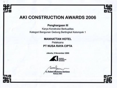 AKI Contruction Awards 2006 PT. Nusa Raya Cipta1 from Manhattan Hotel