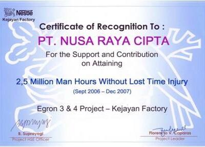 Certificate Of Recognition PT.Nusa Raya Cipta1 From Kejayan Factory
