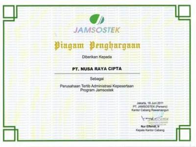 Award Charter of PT. Nusa Raya Cipta1 As A Company Ordered Jamsostek Program